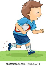 Illustration of a Boy Dressed in Rugby Gear Running Across a Field
