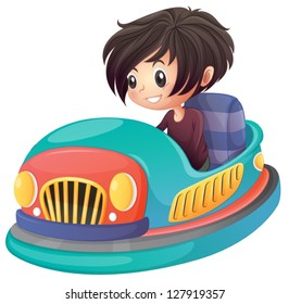 Illustration of a boy driving bumper car on a white background