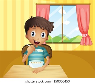 Illustration Of A Boy Eating Cereals Inside The House