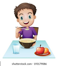 Boy Eating Breakfast Images Stock Photos Amp Vectors