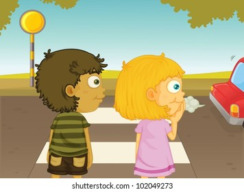 Illustration of boy and girl crossing the street
