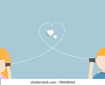 illustration of boy and girl in love with can phone vector cartoon