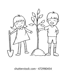 illustration of boy and girl planting the tree.