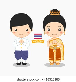 illustration of boy and girl in thai costume