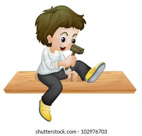 illustration of a boy hammering