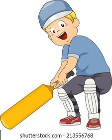 Illustration of a Boy Holding a Cricket Bat