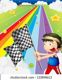 Illustration of a boy holding a racing flag in the racing field