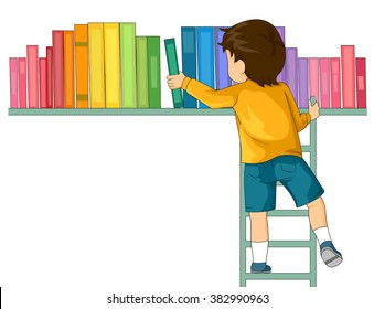 Illustration of a Boy Inside a Library Finding Book with a Ladder