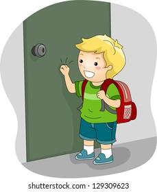 Illustration of a Boy Knocking on a Door
