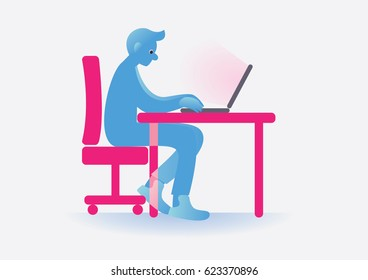 Illustration of boy with laptop. Man work with computer. Table workplace, job character manager. Vector.