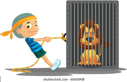 illustration of a boy and lion on a white background