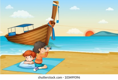 Illustration of boy on holiday in Thailand