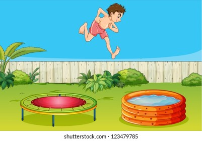 Illustration of a boy on a trampoline in a beautiful nature