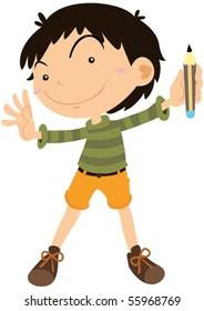 Illustration of A Boy on white background