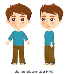 Illustration of a boy posing front and side
