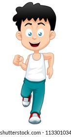 illustration of a boy running
