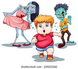 Illustration of a boy running away from zombies
