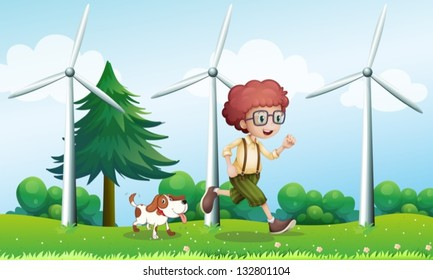Illustration of a boy running with a dog near the three windmills