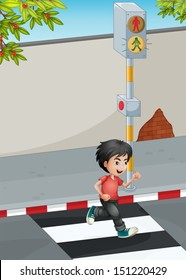 Illustration of a boy running while crossing the street
