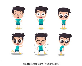 Illustration of boy showing different emotions