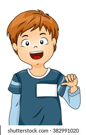 Illustration of a Boy Showing His Blank Name Tag