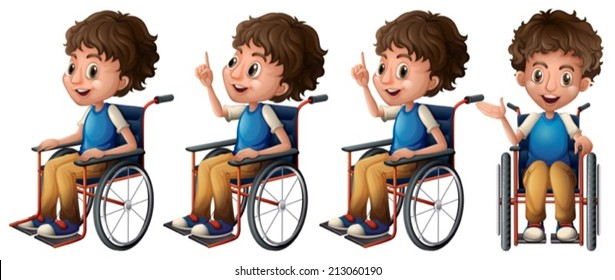 Illustration of a boy sitting on a wheelchair