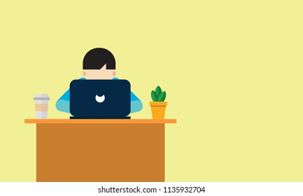 Illustration of a boy surfing the internet using laptop
