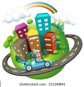 Illustration of a boy travelling around the city on a white background