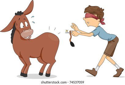 image regarding Pin the Tail on the Donkey Printable known as Pin the Tail Upon the Donkey Visuals, Inventory Illustrations or photos Vectors