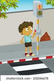 Illustration of boy using a zebra crossing