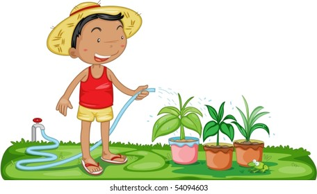 A Boy Watering the Plants - Download Free Vectors, Clipart Graphics &  Vector Art