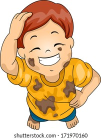 Illustration of a Boy Wearing Muddy Clothes Grinning While Scratching His Head
