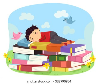 Illustration of a Boy while Sleeping on Books