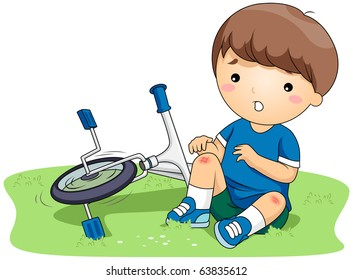 Illustration of a Boy Who Bruised His Knees After He Got into an Accident