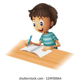 Illustration of a boy writing on a white background