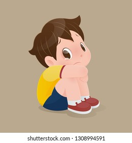 Illustration of a boy in a yellow shirt sitting crying on the floor, Cartoon kid sitting alone with sad feeling at home, Concept with vector design