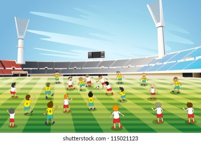 illustration of boys playing football in a stadium