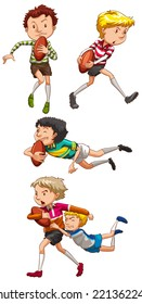 Illustration of boys playing rugby
