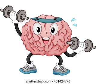 Illustration of a Brain Mascot in Sporty Headband and Training Shoes Alternately Lifting Dumbbells