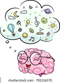 Illustration of a Brain Mascot with Thinking Cloud Imagining Things like Travel, Music and Nature