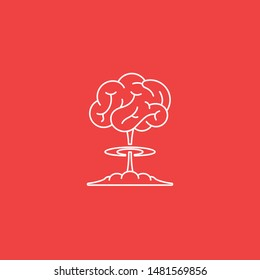 Illustration of brain power explosion. Brain with ideas explode in red background. Symbol of huge brilliant idea bursting out. Logo for creativity business.