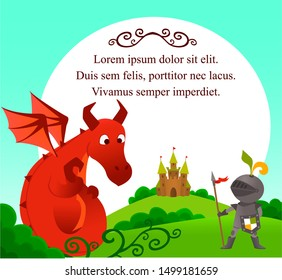 Illustration of a brave knight and a  scared dragon next to castle. With place for text.