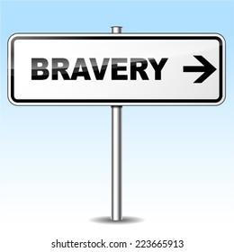 Illustration of bravery sign on sky background