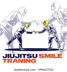illustration of a Brazilian jiu-jitsu practicing using a smiling mask for posters, t-shirt designs and merchandise