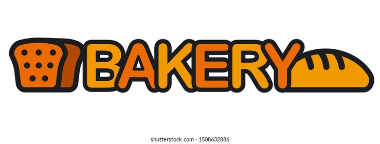 illustration of bread and bakery logo and sign