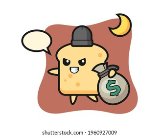 Illustration of bread cartoon is stolen the money, cute style design for t shirt, sticker, logo element