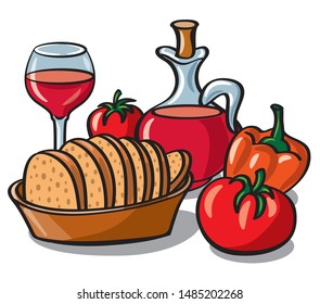 illustration of bread in plate with vegetables and wine