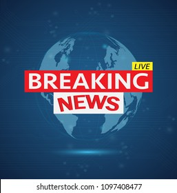 Illustration of a Breaking News design on a colorful blue background.