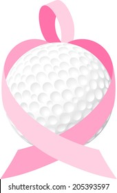 illustration of a breast cancer ribbon forming a heart wrapped around a golf ball.