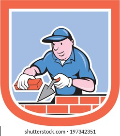 illustration of a bricklayer mason plasterer worker holding trowel and brick on isolated background set inside shield crest done in cartoon style.